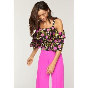 Milly | Silk NWOT Floral Cold Shoulder Crop Top